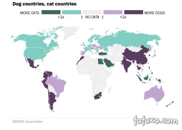 Mapa mostra preferências entre cães e gatos no mundo
