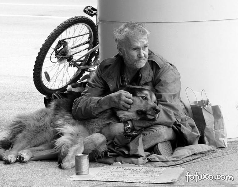 Fotos mostram amor de moradores de rua por seus cães
