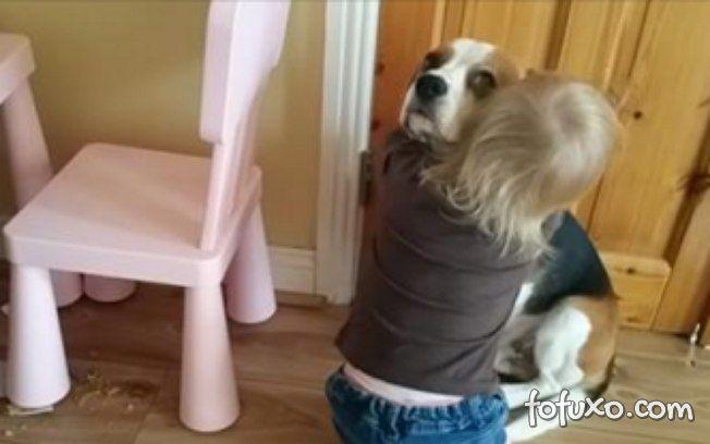 Garota consola cão que derrubou tigela no chão