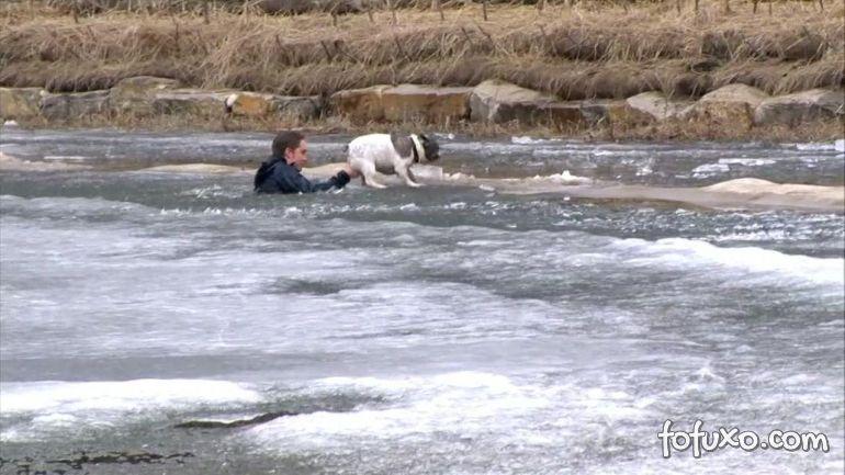 Homem se joga em lago congelado para salvar vida de cachorro
