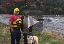 Vídeo mostra resgate de homem e cachorro