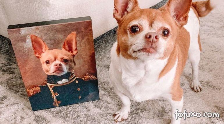 Empresa faz quadro de animais de estimação como membros da realeza