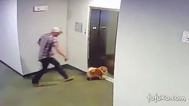 Homem salva cachorro que fica com guia presa em elevador