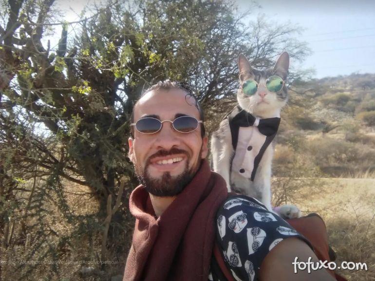 Gato mochileiro viaja com seu dono pela América do Sul