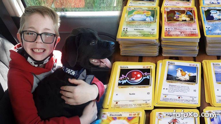 Menino vende cartas de Pokémon para salvar vida de cão