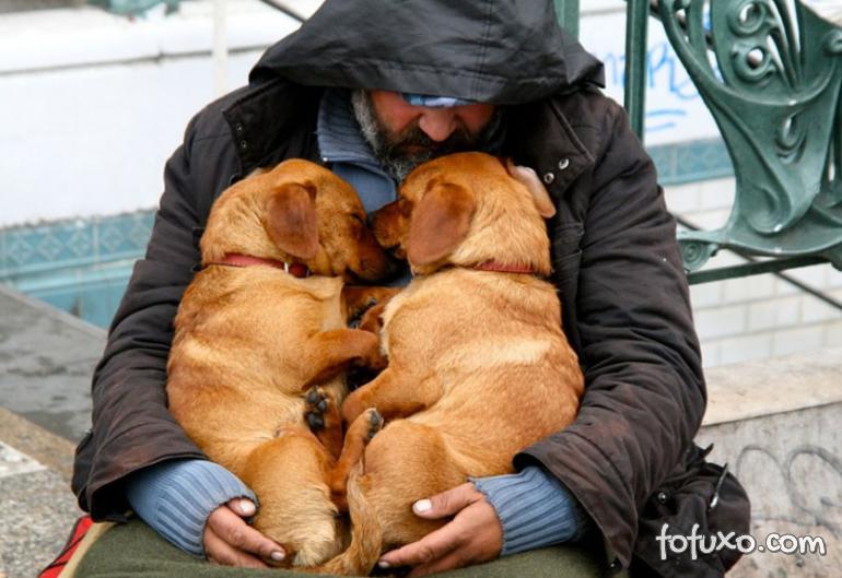 Fotos mostram amor de moradores de rua por seus cães - Foto 4